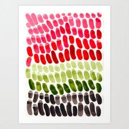 Colorful Rainbow Aquatic Watercolor Pattern Fish Scales Pattern Cactus Green Watermelon Red Art Print