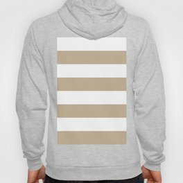 Wide Horizontal Stripes - White and Khaki Brown Hoody