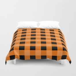 Orange and Black Buffalo Check Duvet Cover