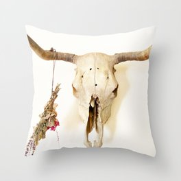 Flower and Skull Print and Collection  Throw Pillow