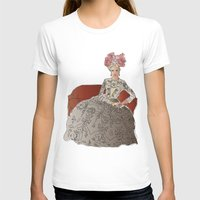 sofa T-shirts featuring woman in a sofa by Rosa Brualla