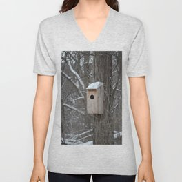 Bird House with Snow on the Roof Unisex V-Neck
