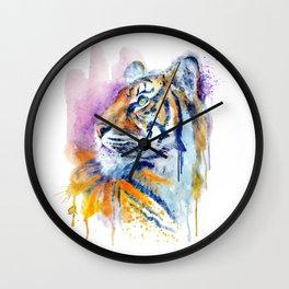 Young Tiger Watercolor Portrait Wall Clock