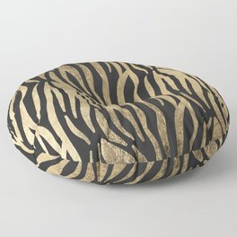 Modern elegant black faux gold trendy zebra animal print Floor Pillow