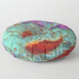 DIMENSIONAL PURPLE IRIS FLOWERS & GOLDEN KOI FISH Floor Pillow