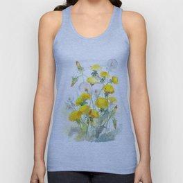 Watercolor yellow flowers dandelions Unisex Tank Top
