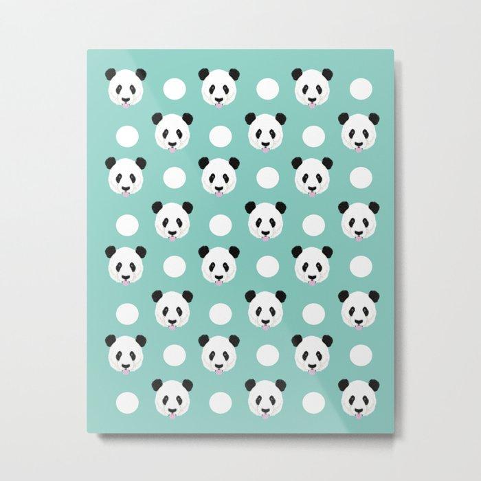 Panda polka dots pattern print minimal trendy kids design pillow cell phone cute panda cub character Metal Print