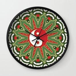 Red Yin Yang Sun Festive Mandala Wall Clock