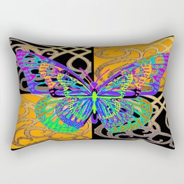 Fantasy World Butterfly in Black- Gold Pattern Art Design Rectangular Pillow