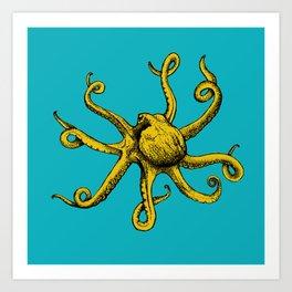 Orange Octopus Art Print
