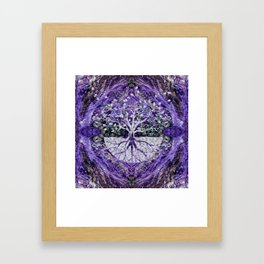 Silver Tree of Life Yggdrasil on Amethyst Geode Framed Art Print