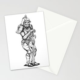 knight skeleton - warrior illustration - skull black and white Stationery Cards