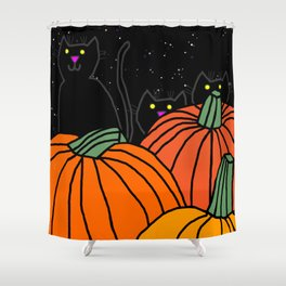 Halloween Black Cats in the Pumpkin Patch at Night Shower Curtain