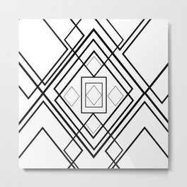 Modern black white geometrical diamond shapes Metal Print