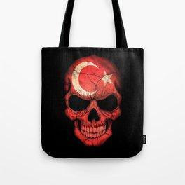 Dark Skull with Flag of Turkey Tote Bag