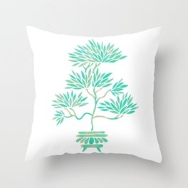 Bonsai Tree – Mint Palette Throw Pillow