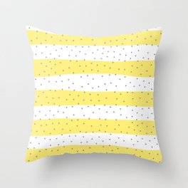 Simple Christmas seamless pattern Purple Confetti on Yellow and White Stripes Background Throw Pillow