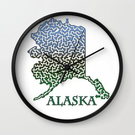Alaska State Outline Mountain Themed Maze & Labyrinth Wall Clock