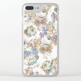 Vintage blush lavender brown teal blue roses floral Clear iPhone Case