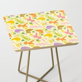 Animals Exotic Pastel Colors Shapes Pattern Side Table