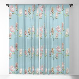 pink floral on light blue Sheer Curtain
