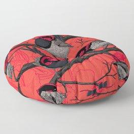 Fairy wrens on red Floor Pillow