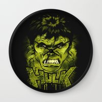 hulk Wall Clocks featuring HULK by dan elijah g. fajardo