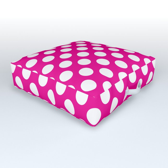 White Polka Dots with Pink Background Outdoor Floor Cushion