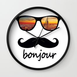 bonjour New York Mustache Wall Clock