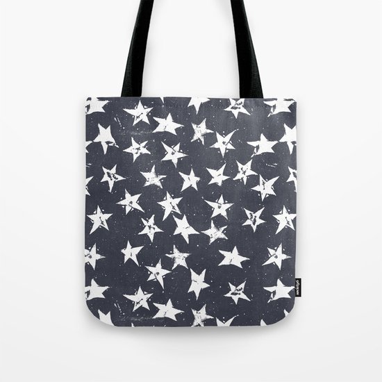 Linocut Stars - Navy & White Tote Bag
