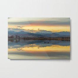 Marvelous Golden Mountain Lake Reflections Metal Print