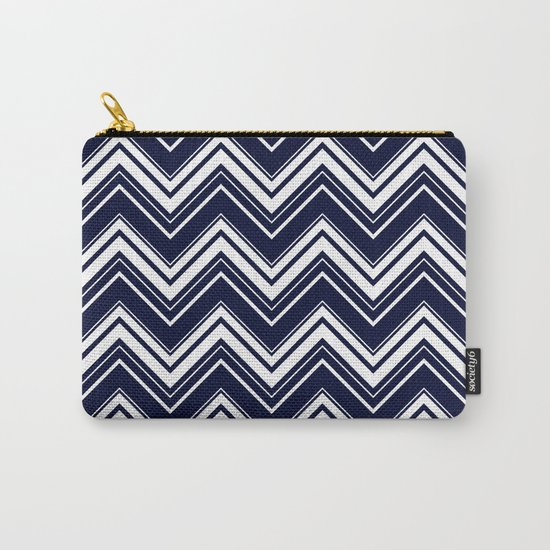 Maritime pattern- chevron - white and darkblue Carry-All Pouch