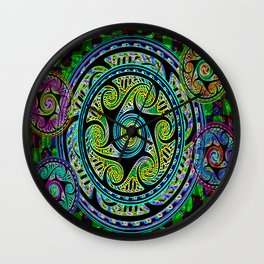 Variated Spheres #1 Psychedelic Celtic Design Wall Clock