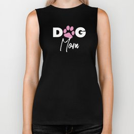 Dog Mom Paw Print Gift For Shelter Animal Lover Biker Tank