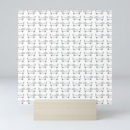 Dachshunds pattern in black and white Mini Art Print
