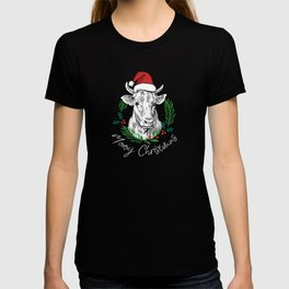 Cow Moooy Christmas Farm Barn Bovine Country T-shirt