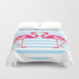 Flamingo, Flamingo t-shirt, watercolor poster, pink in blue stripes, circle Duvet Cover