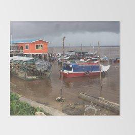 Murky Pier in South America Throw Blanket