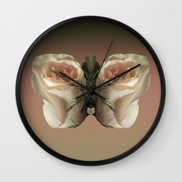 Vanilla Butterfly Roses Wall Clock