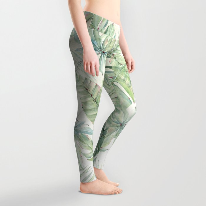 Green Tropical Leaves Leggings