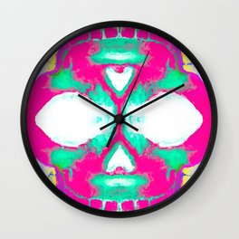 smiling pink skull head with blue and yellow background Wall Clock