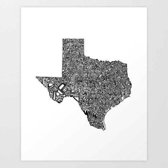 Typographic Texas Art Print