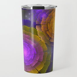 Cosmos flowers, fractal / mixed media art Travel Mug