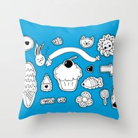 sticker Throw Pillows featuring Sticker World by Duru Eksioglu
