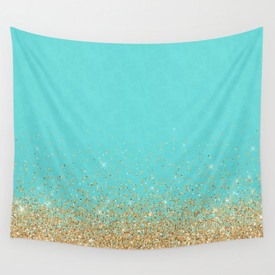 Sparkling gold glitter confetti on aqua teal damask background by betterhome