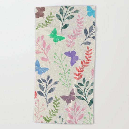 Watercolor flowers & butterflies Beach Towel