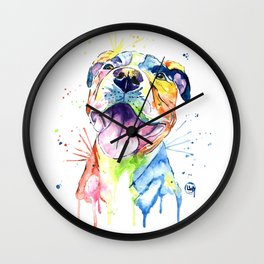 Pit Bull, Pitbull Watercolor Painting - The Softer Side Wall Clock