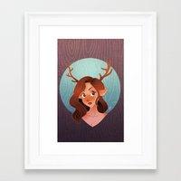 fawn Framed Art Prints featuring Fawn by Lauren Draghetti