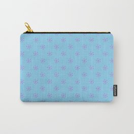 Lavender Violet on Baby Blue Snowflakes Carry-All Pouch