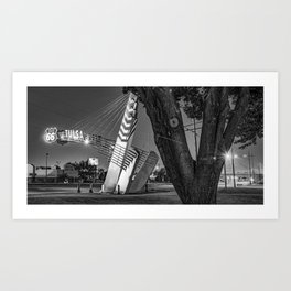Route 66 Tulsa Oklahoma Western Gateway Arch At Dawn Panorama in Black and White Art Print